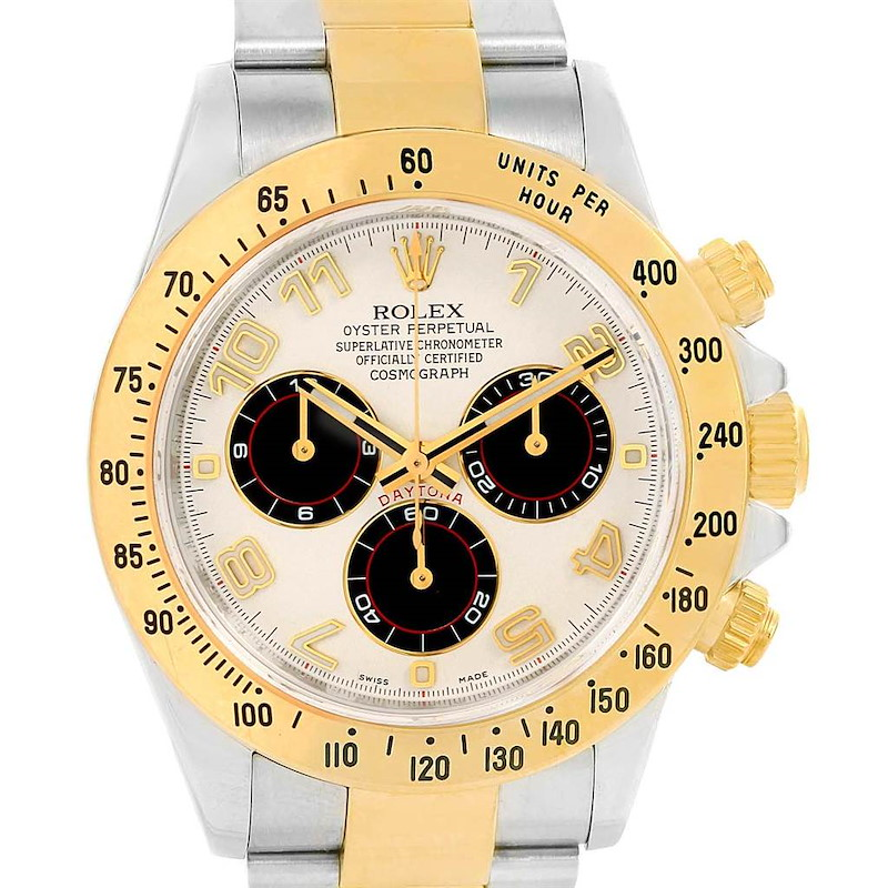 Rolex Cosmograph Daytona Panda Dial Steel Yellow Gold Watch 116523 SwissWatchExpo