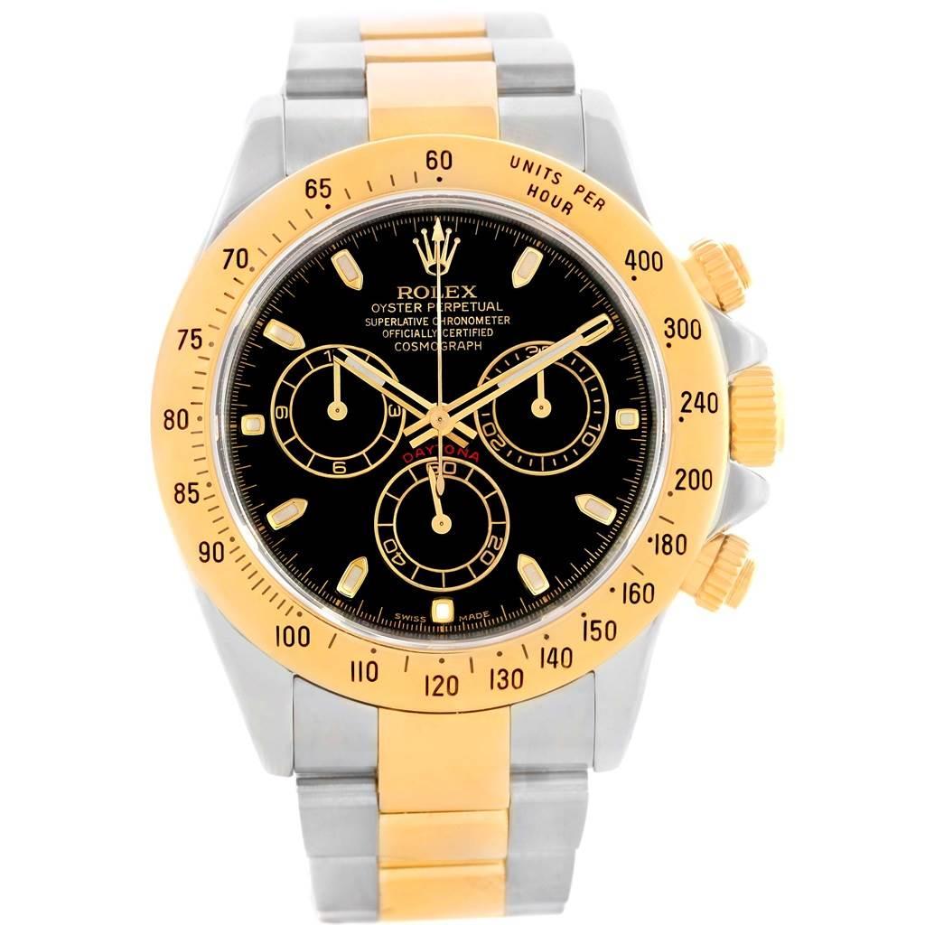 Rolex Daytona Steel 18K Yellow Gold Black Dial Watch 116523 SwissWatchExpo