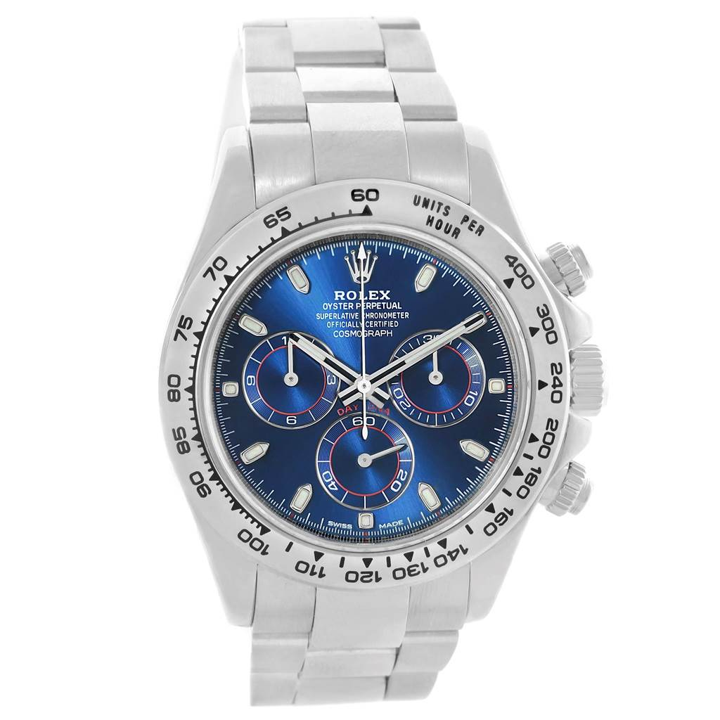 Rolex Cosmograph Daytona 18k White Gold Blue Dial Mens Watch