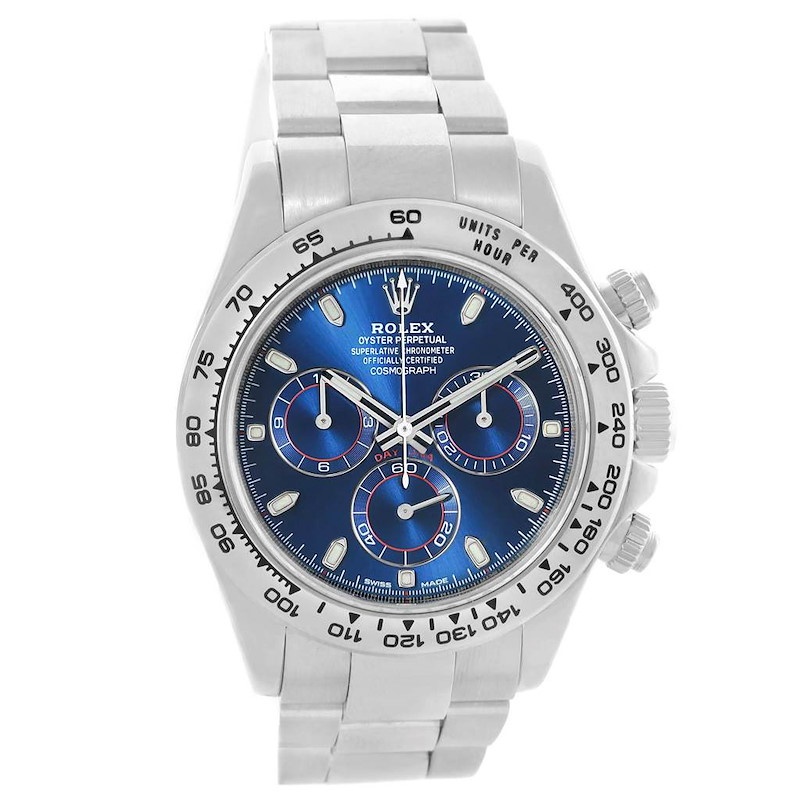Rolex Cosmograph Daytona 18K White Gold Blue Dial Mens Watch 116509 SwissWatchExpo