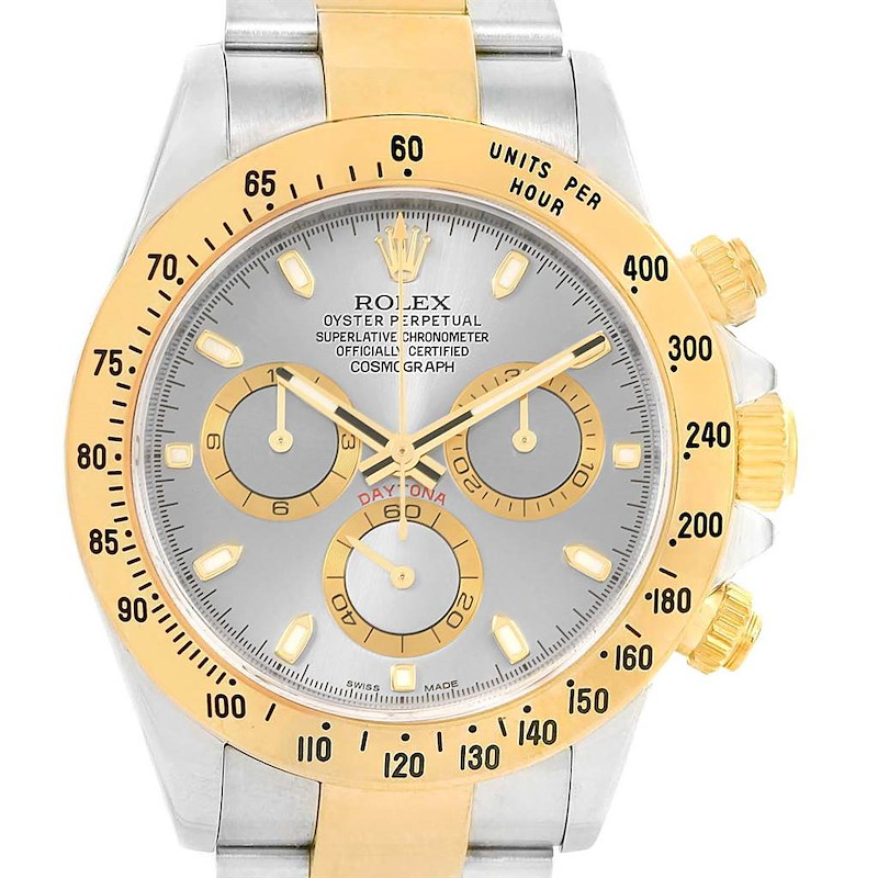 Rolex Cosmograph Daytona Steel Yellow Gold Slate Dial Watch 116523 SwissWatchExpo