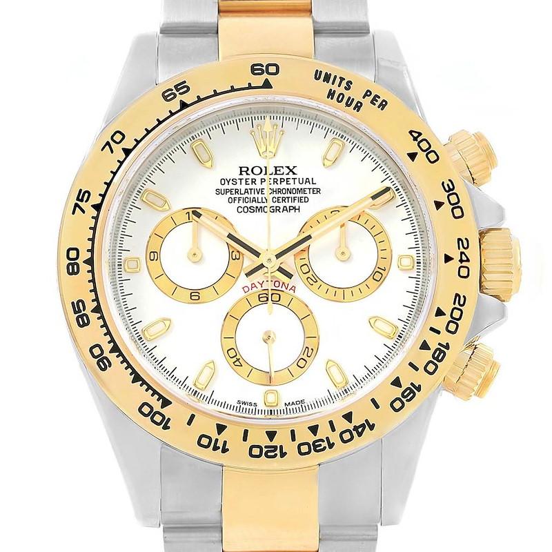 Rolex Daytona Steel 18K Yellow Gold White Dial Watch 116523 Unworn SwissWatchExpo