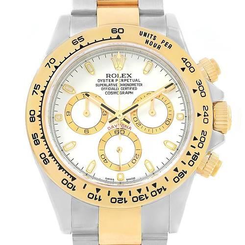 Photo of Rolex Daytona Steel 18K Yellow Gold White Dial Watch 116523 Unworn