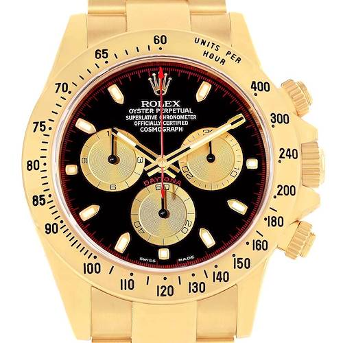 Photo of Rolex Daytona 18K Yellow Gold Black Dial Mens Watch 116528 Box Papers