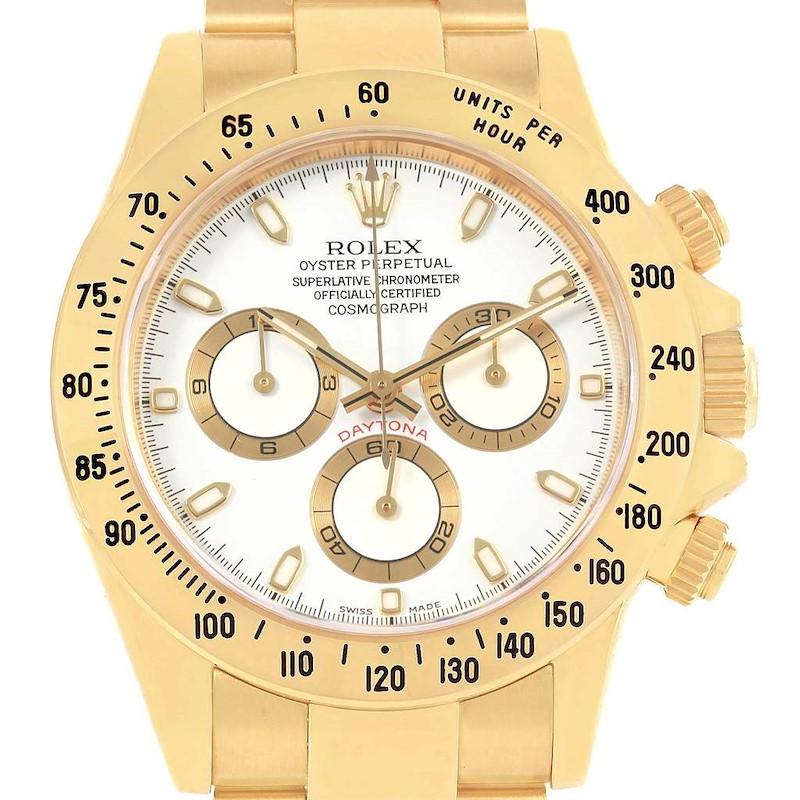 Rolex Daytona Yellow Gold White Dial Chronograph Watch 116528 SwissWatchExpo