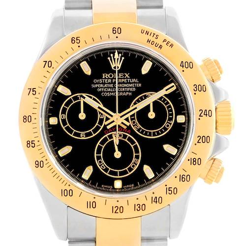 Photo of Rolex Daytona Steel 18K Yellow Gold Black Dial Mens Watch 116523