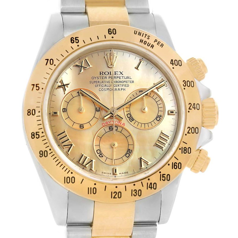 Rolex Cosmograph Daytona Steel 18K Yellow Gold MOP Dial Watch 116523 SwissWatchExpo