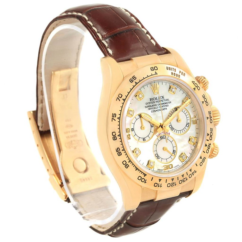 Rolex Cosmograph Daytona Yellow Gold MOP Diamond Dial Watch 116518 SwissWatchExpo