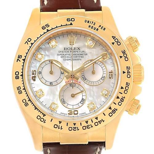 Photo of Rolex Cosmograph Daytona Yellow Gold MOP Diamond Dial Watch 116518