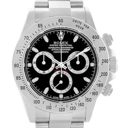 Photo of Rolex Cosmograph Daytona Black Dial Steel Mens Watch 116520 Box Papers