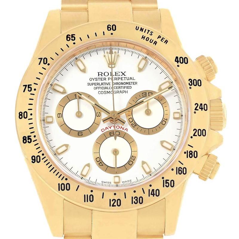 Rolex Daytona Yellow Gold White Dial Chronograph Watch 116528 Box Card SwissWatchExpo