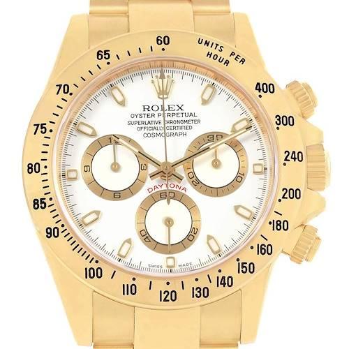 Photo of Rolex Daytona Yellow Gold White Dial Chronograph Watch 116528 Box Card