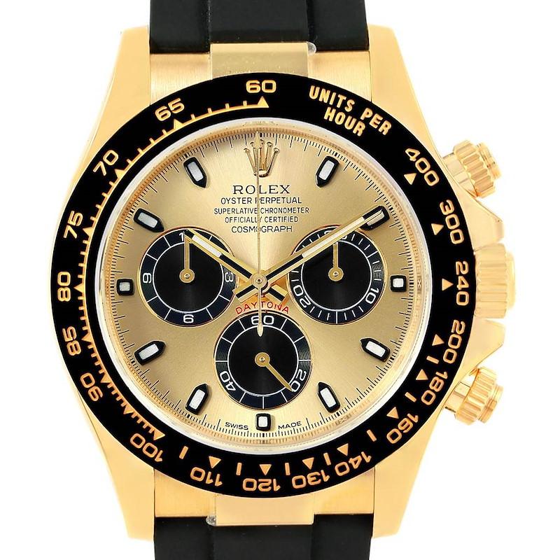 Rolex Daytona Yellow Gold Ceramic Bezel Rubber Strap Watch 116518 Unworn SwissWatchExpo