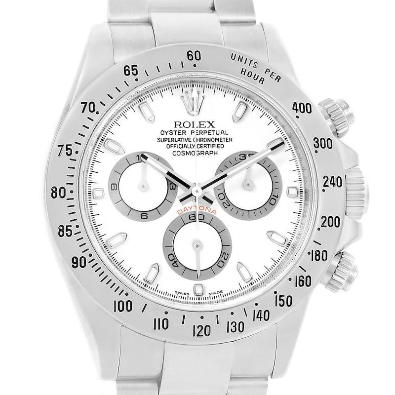 Rolex Cosmograph Daytona White Dial Chrono Steel Mens Watch 116520 SwissWatchExpo