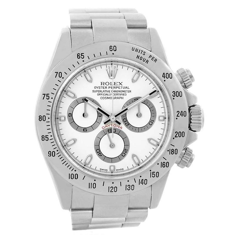 Rolex Daytona White Dial Chronograph Steel Mens Watch 116520 Box Papers SwissWatchExpo