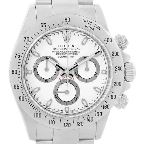 Photo of Rolex Daytona White Dial Chronograph Steel Mens Watch 116520 Box Papers