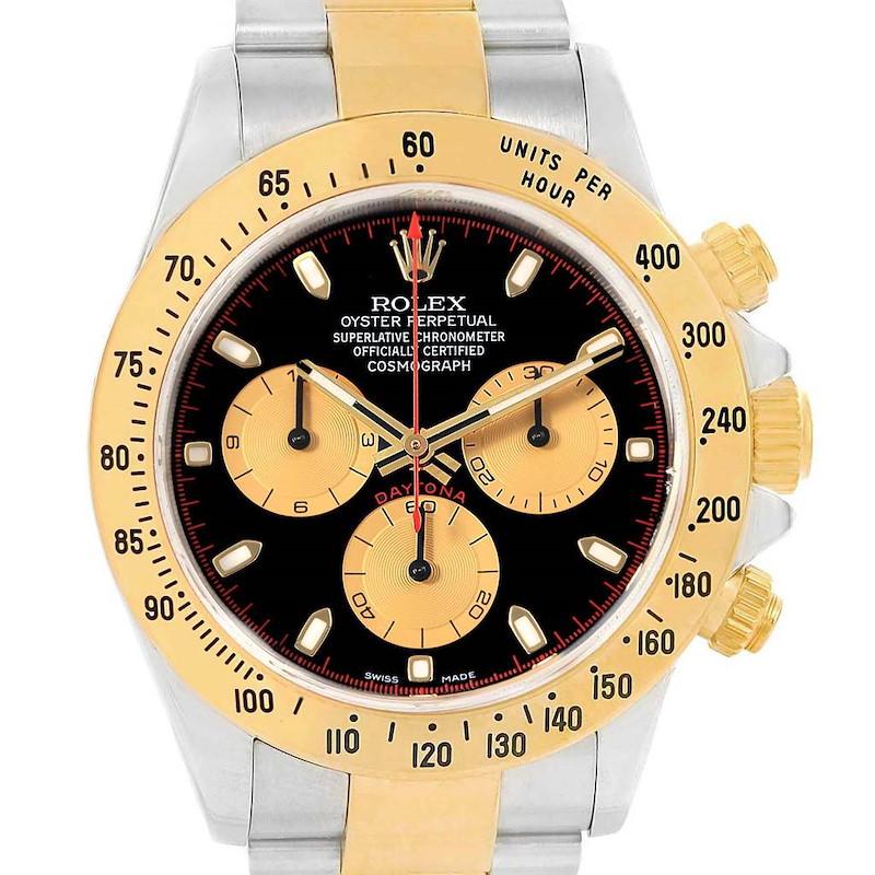 Rolex Daytona Steel Yellow Gold Black Dial Mens Watch 116523 Box Papers SwissWatchExpo