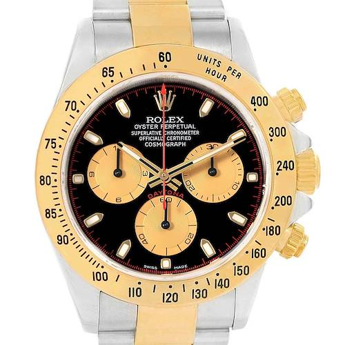 Photo of Rolex Daytona Steel Yellow Gold Black Dial Mens Watch 116523 Box Papers
