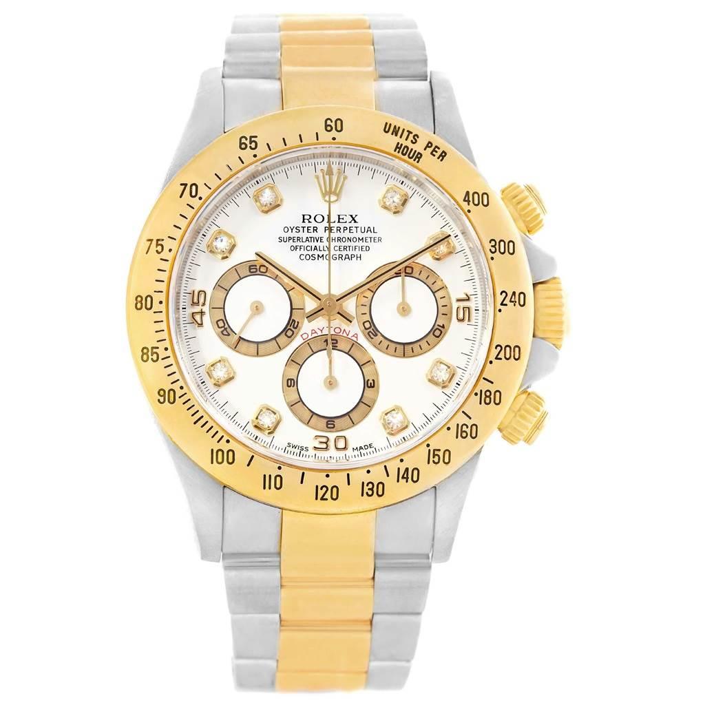 Rolex Cosmograph Daytona Steel Yellow Gold Diamond Mens Watch 16523 SwissWatchExpo