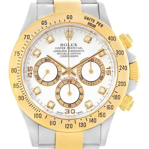Photo of Rolex Cosmograph Daytona Steel Yellow Gold Diamond Mens Watch 16523