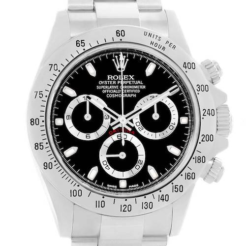 Photo of Rolex Daytona Black Dial Chronograph Steel Watch 116520 Box Card