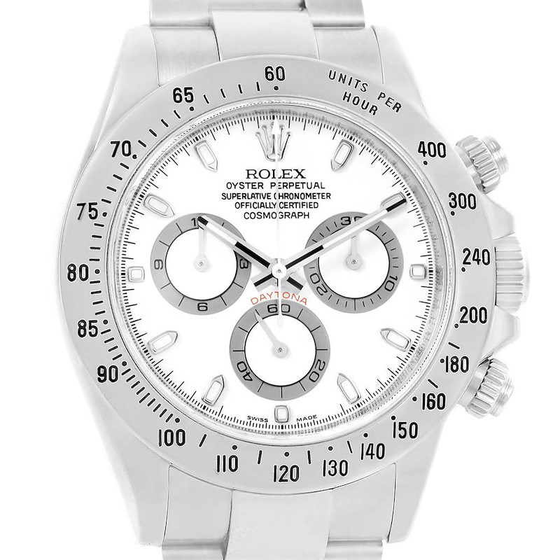 Rolex Daytona White Dial Chronograph Steel Mens Watch 116520 Box Card SwissWatchExpo