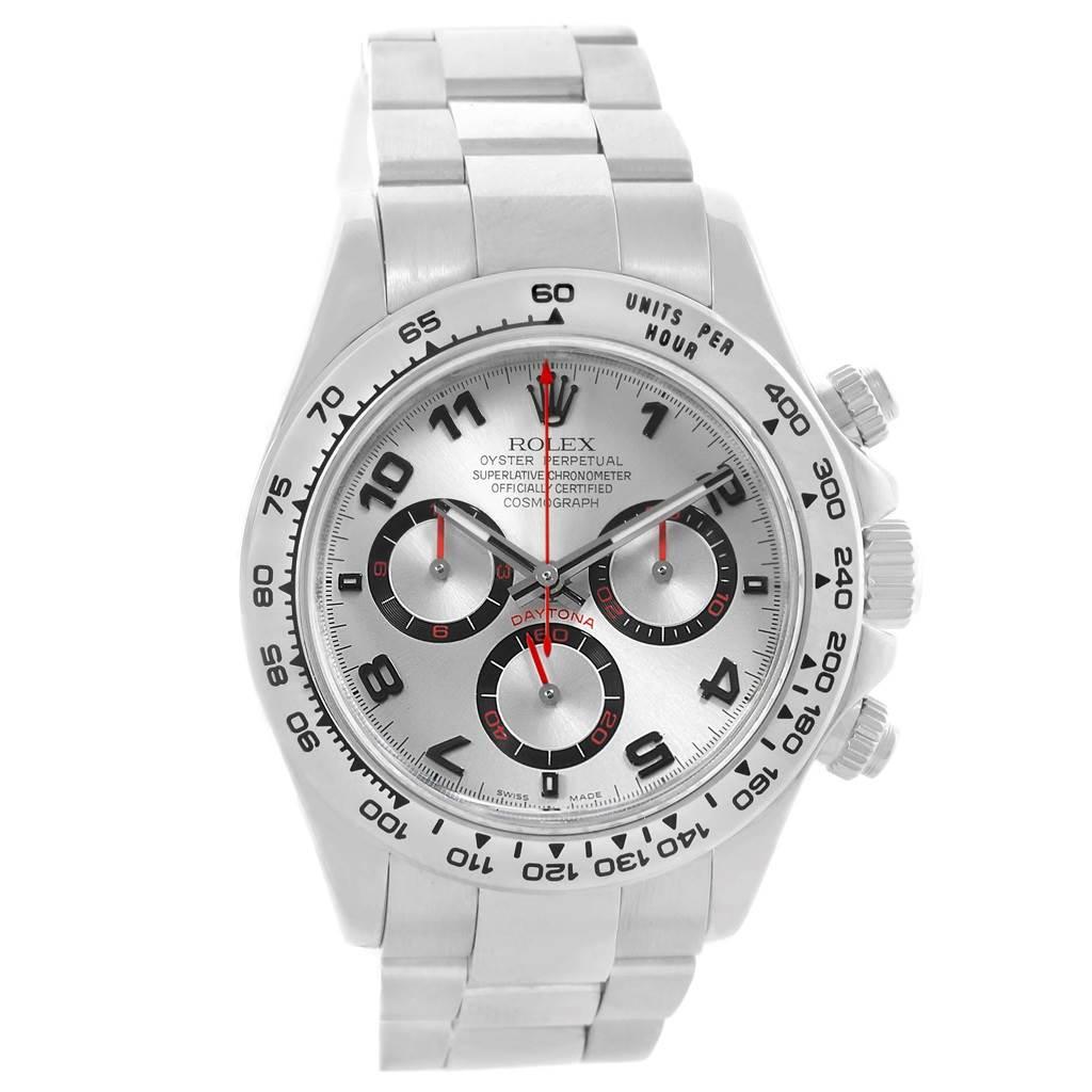 Rolex Cosmograph Daytona 18k White Gold Silver Dial Mens Watch