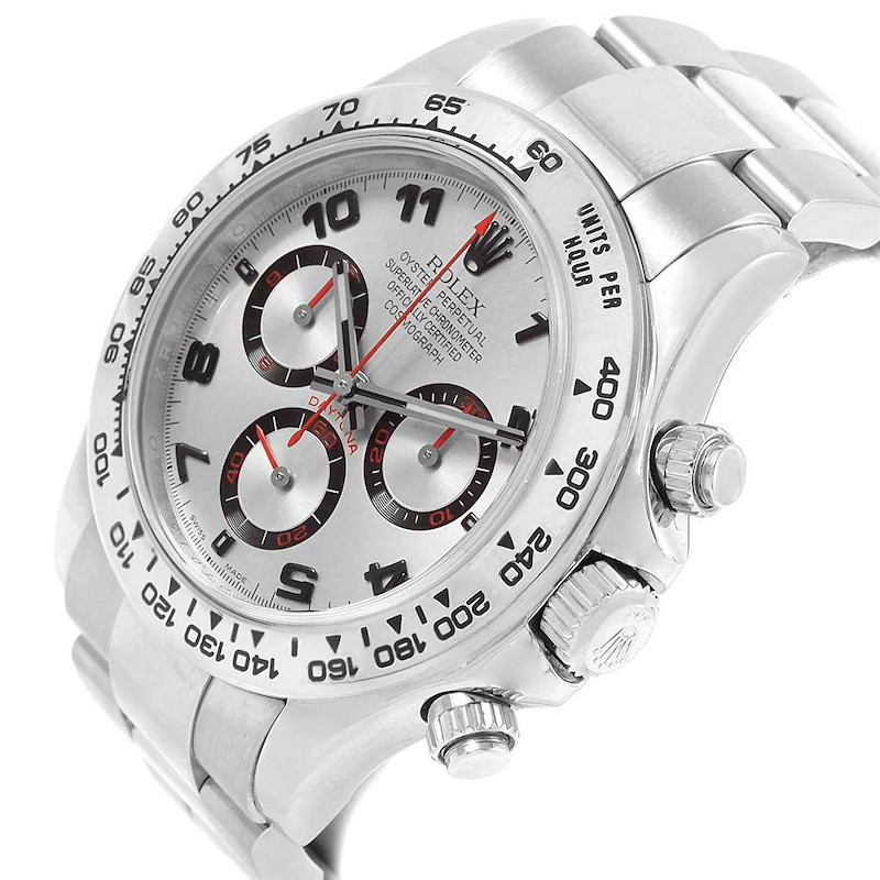 Rolex Cosmograph Daytona 18K White Gold Silver Dial Mens Watch 116509 SwissWatchExpo
