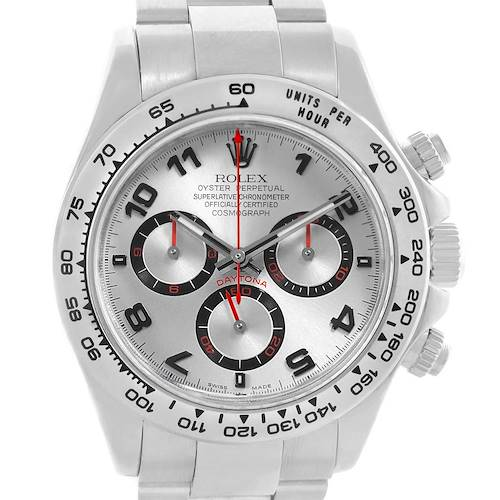 Photo of Rolex Cosmograph Daytona 18K White Gold Silver Dial Mens Watch 116509