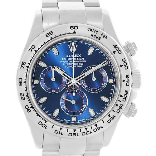Photo of Rolex Cosmograph Daytona White Gold Blue Dial Mens Watch 116509