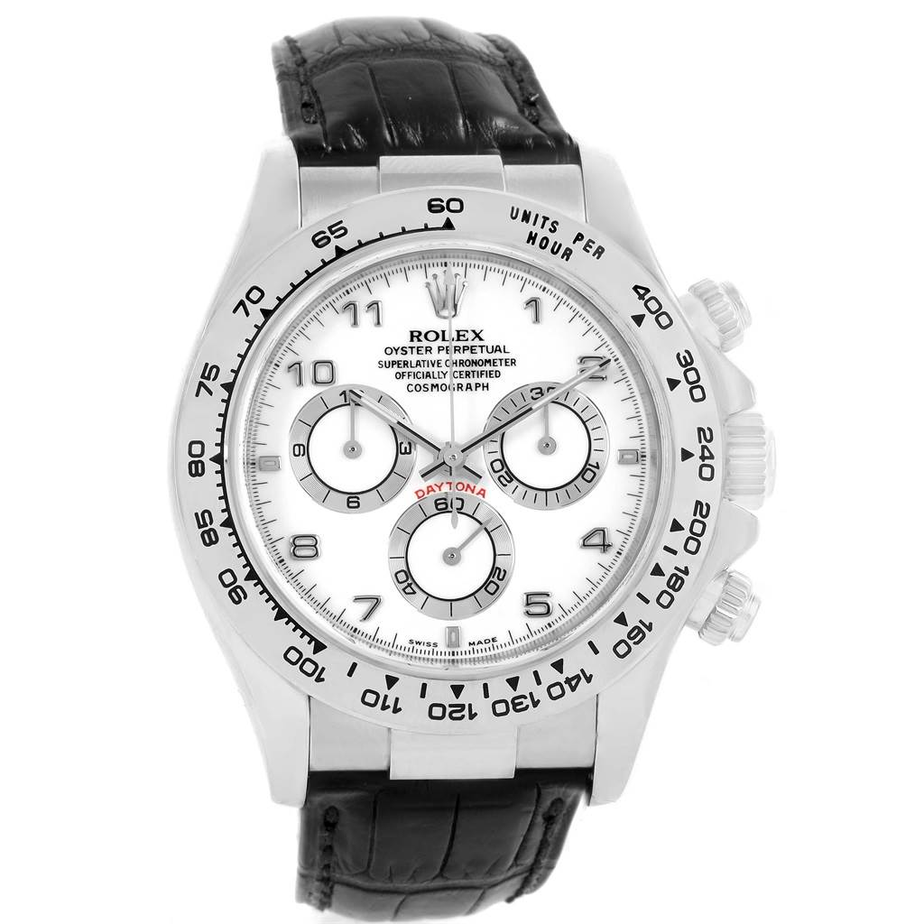 56183d02279 ... 19552 Rolex Daytona White Gold Black Strap Mens Watch 116519 Box Papers  SwissWatchExpo ...