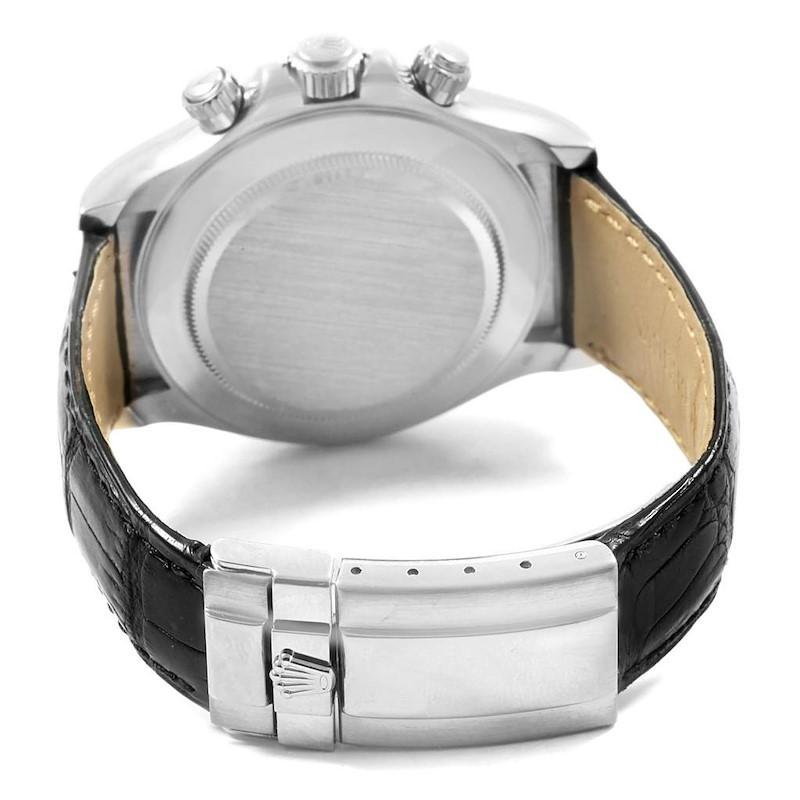 Rolex Daytona White Gold Black Strap Mens Watch 116519 Box Papers SwissWatchExpo