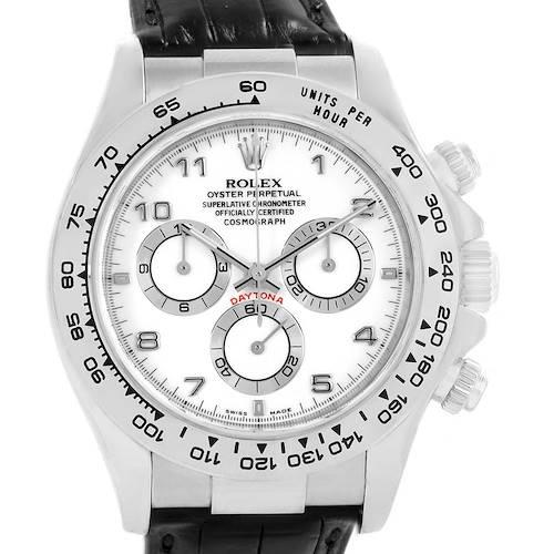 Photo of Rolex Daytona White Gold Black Strap Mens Watch 116519 Box Papers