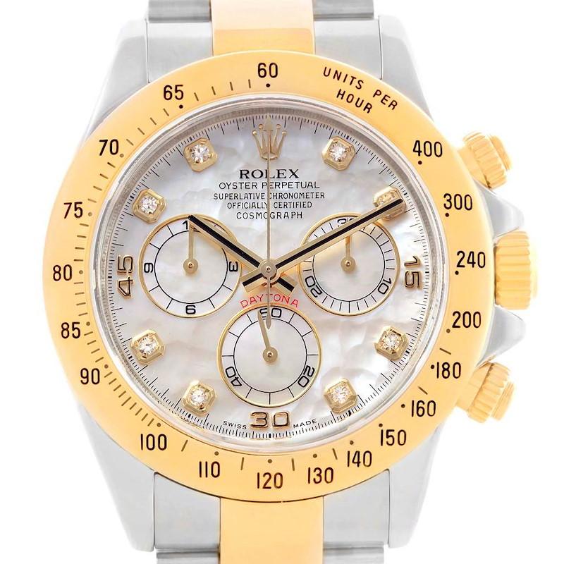 Rolex Cosmograph Daytona Steel Yellow Gold MOP Diamond Watch 116523 SwissWatchExpo