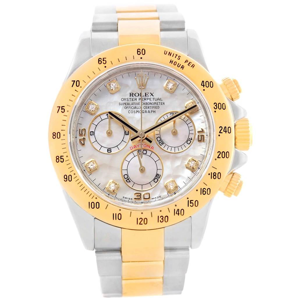 Rolex Cosmograph Daytona Steel Yellow Gold Mop Diamond Watch