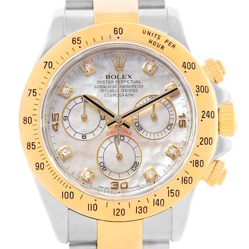 Photo of Rolex Cosmograph Daytona Steel Yellow Gold MOP Diamond Watch 116523
