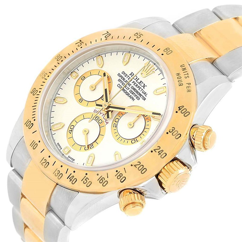 Rolex Daytona Steel Yellow Gold White Dial Automatic Mens Watch 116523 SwissWatchExpo