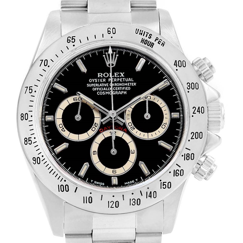 Rolex Cosmograph Daytona Black Dial Zenith Movement Watch 16520 SwissWatchExpo