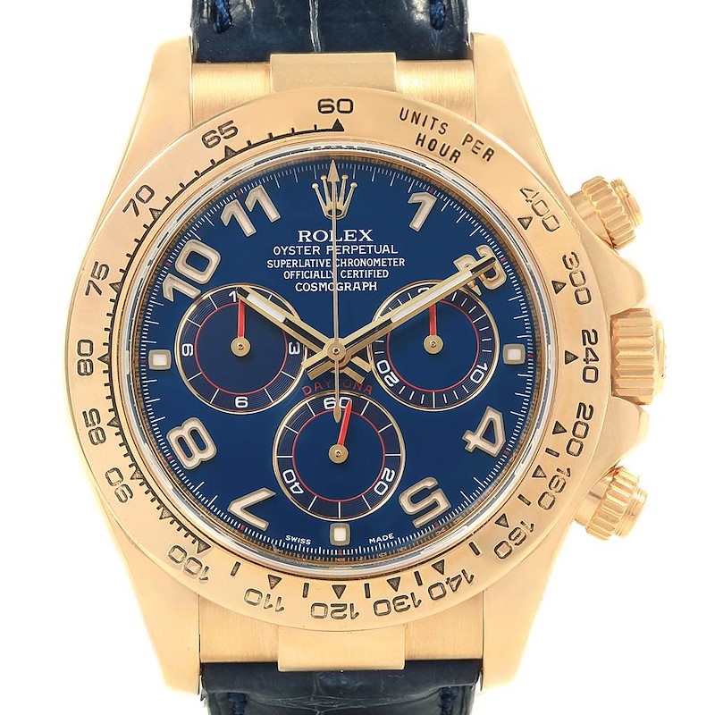 Rolex Cosmograph Daytona Yellow Gold Blue Dial Mens Watch 116518 SwissWatchExpo