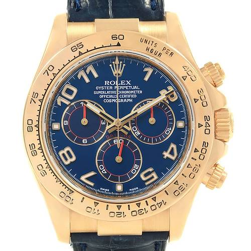 Photo of Rolex Cosmograph Daytona Yellow Gold Blue Dial Mens Watch 116518