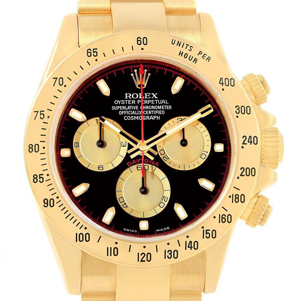 Rolex Cosmograph Daytona Yellow Gold Black Dial Mens Watch 116528