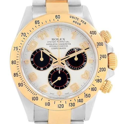 Photo of Rolex Daytona Panda Dial Steel Yellow Gold Mens Watch 116523 Box Card