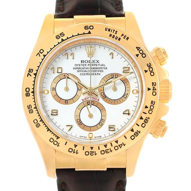 Rolex Daytona Yellow Gold White Dial Mens Watch 116518 Box Card SwissWatchExpo