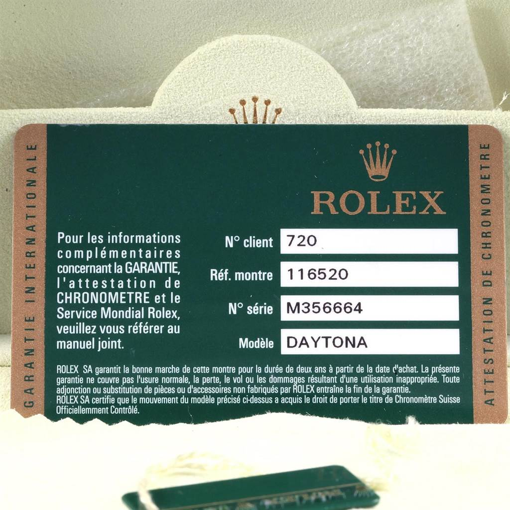 Rolex Daytona Black Dial Chronograph Steel Watch 116520 Box Card SwissWatchExpo