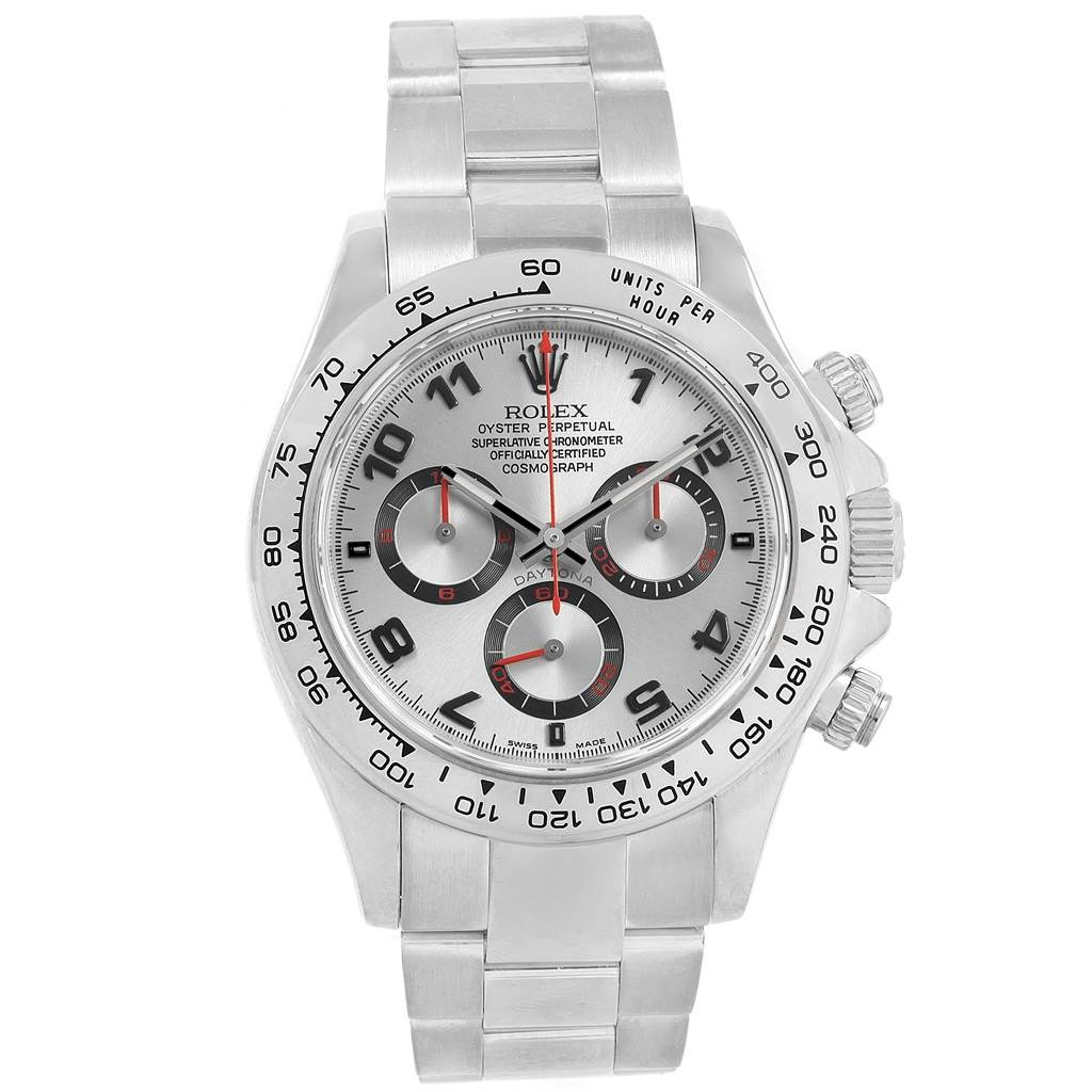 20958 Rolex Cosmograph Daytona 18K White Gold Silver Dial Mens Watch 116509 SwissWatchExpo