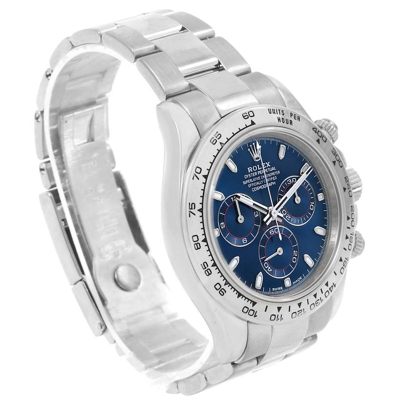 Rolex Cosmograph Daytona White Gold Blue Dial Mens Watch 116509 SwissWatchExpo