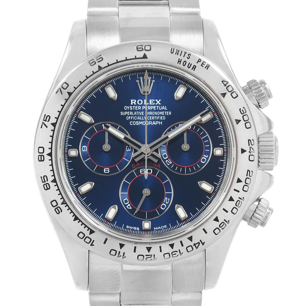 Rolex Cosmograph Daytona White Gold Blue Dial Mens Watch 116509