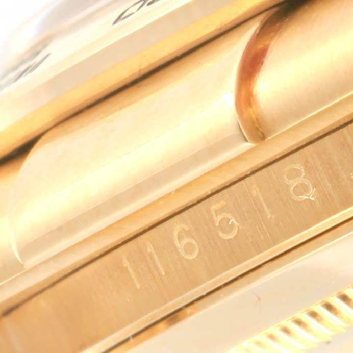 20858A Rolex Daytona Yellow Gold Black Dial Mens Watch 116518 Box Card SwissWatchExpo