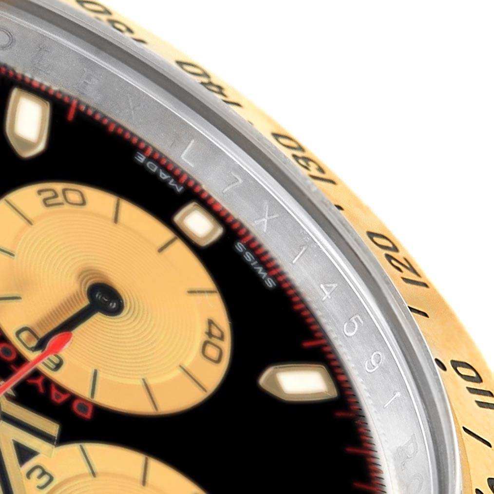 17581A Rolex Daytona Black Dial Steel Yellow Gold Watch 116523 Box SwissWatchExpo
