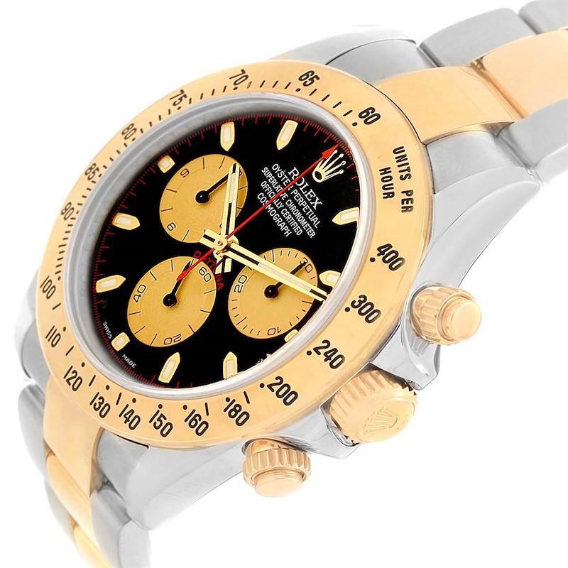 Rolex Daytona Black Dial Steel Yellow Gold Watch 116523 Box SwissWatchExpo